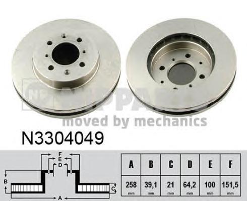 N3304049 Диск тормозной HONDA JAZZ 1.2-1.4 04- передний D=258мм.