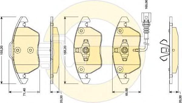 6118072 Колодки тормозные AUDI A3 1.2-1.8/TT 1.8-3.2 08-/VW PASSAT 1.4-2.0 10- передние