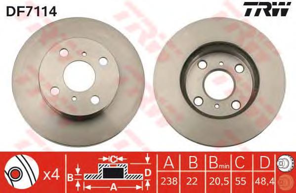 DF7114 Диск тормозной TOYOTA COROLLA 1.6 00-02 передний вент.D=238мм.