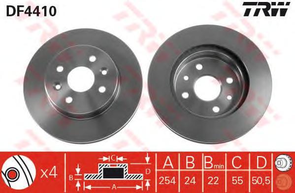 DF4410 Диск тормозной KIA RIO 00-05 передний вент.D=254мм.