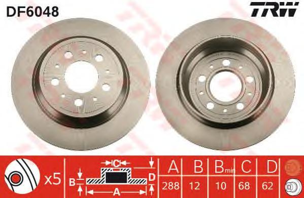 DF6048 Диск тормозной задн VOLVO: S70 (P80_) 96-00