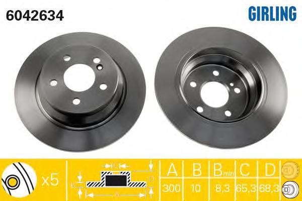 6042634 Диск тормозной MERCEDES W211/W212 200-350 задний D=300мм.