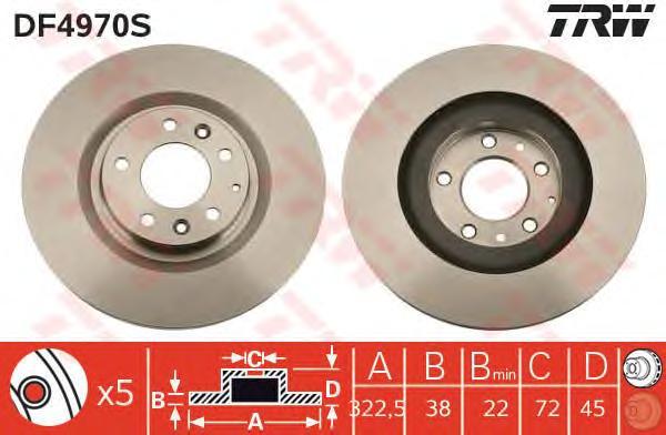 DF4970S Диск тормозной MAZDA RX8 2.6 03-12 передний D=322мм.