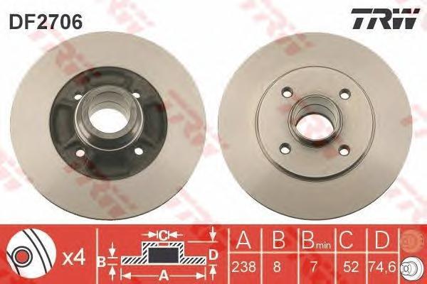 DF2706 Диск тормозной RENAULT 19/CLIO 91-98/MEGANE 96-03 зад. без подш.без АБС D=238мм.