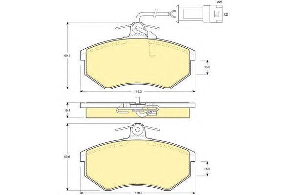 6104041 Колодки тормозные AUDI 80/90/100/200 82-95 передние с датчиком