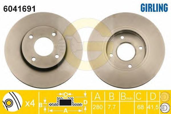 6041691 Диск тормозной NISSAN ALMERA (N16E) 0006/PRIMERA (P11E) 9602 передний вент.